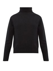 Margaret Howell Ribbed Roll Neck Brushed Cashmere Sweater Black