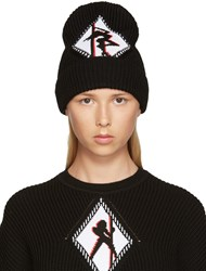Alexander Wang Black Ribbed Graphic Beanie
