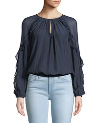 Ramy Brook Sutton Ruffle Long Sleeve Blouson Top Black