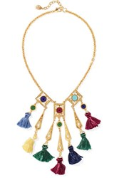 Ben Amun Gold Tone Stone And Tassel Necklace