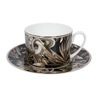 Roberto Cavalli Tropical Jungle Teacup And Saucer Luxury Gift Set Set Of 2 Black