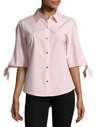 Ivanka Trump Gingham Cotton Button Down Shirt Blush Pink