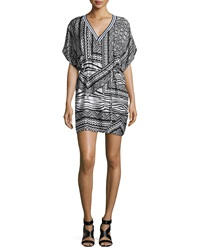 Townsen Hoffman Tribal Print Chiffon Dress Black White
