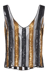 Sally Lapointe Striped Sequin Embroidered Tank Multi