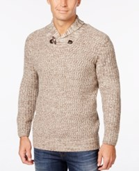 Weatherproof Vintage Men's Big And Tall Shawl Collar Sweater Only At Macy's Tan Heather