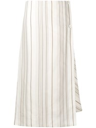 Jil Sander Striped Wrap Front Skirt White