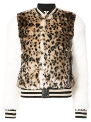 Mother Leopard Print Faux Fur Bomber Jacket Acrylic Polyester Multicolour