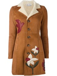 Red Valentino Flower Patch Shearling Coat Brown