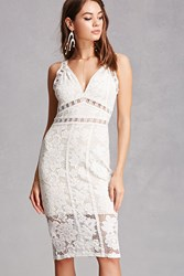 Forever 21 Contrast Lace Overlay Dress Ivory Nude