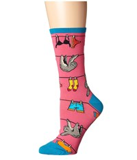 Socksmith Sloth On A Line Pink Crew Cut Socks Shoes