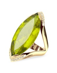 Forzieri Green Gemstone And Diamond Yellow Gold Fashion Ring