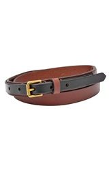 Fossil Skinny Leather Belt Brown