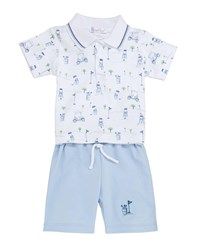Kissy Kissy First Tee Polo And Bermuda Set Size 6 24 Months Light Blue