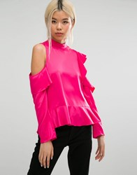 Asos Satin Ruffle Top With Cold Shoulder Hot Pink