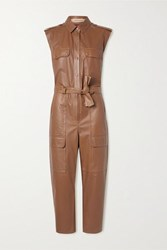 Yves Salomon Belted Leather Jumpsuit Light Brown
