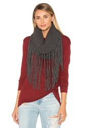 Michael Stars Fringed Out Cowl Scarf Charcoal