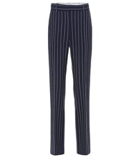 See By Chloe Striped High Rise Slim Pants Blue