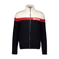 Moncler Zipped Logo Cardigan Navy