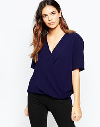 Asos Short Sleeve Drape Wrap Blouse Navy