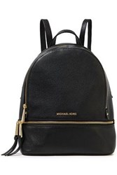 Michael Michael Kors Woman Logo Embellished Textured Leather Backpack Black