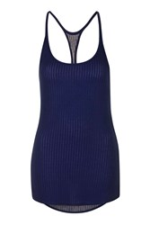 Ivy Park Sheer Ribbed Vest By Navy Blue