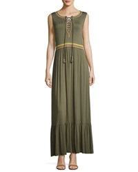 Neiman Marcus Lace Up Embroidered Maxi Dress Sage