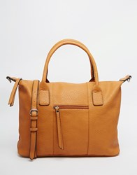 Pieces Tote Bag With Cross Body Strap Tan