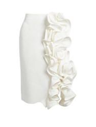 Brock Collection Stacey Ruffled Linen Pencil Skirt White