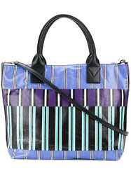 Pinko Striped Logo Tote Bag Blue