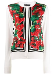 Dolce And Gabbana Floral Print Cardigan Red