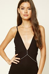 Forever 21 Faux Gem Body Chain Gold Clear