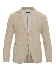 Giorgio Armani Woven Cotton And Linen Blend Blazer Beige
