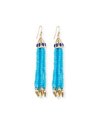 Lulu Frost Beaded Blue Tassel Drop Earrings Turquoise