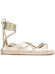 Dsquared2 Lace Up Ballerina Sandals Women Leather Rubber 38 Metallic