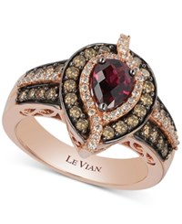 Le Vian Chocolatier Rhodolite Garnet 3 4 Ct. T.W. And Diamond 3 4 Ct. T.W. Ring In 14K Rose Gold
