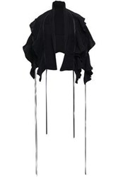 Magda Butrym Leather Trimmed Ruffled Silk Crepe De Chine Cape Black