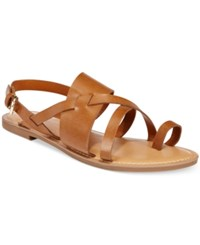 Bar Iii Voltage Strappy Slingback Flat Sandals Only At Macy's Women's Shoes Dark Tan