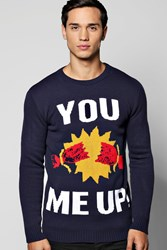 Boohoo You Cracker Me Up Christmas Jumpers Navy