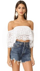 Miguelina Kela Off The Shoulder Top Pure White