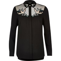 River Island Womens Black Swallow Embroidered Mesh Collar Shirt