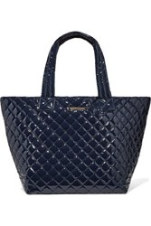 M Z Wallace Mz Metro Leather Trimmed Quilted Vinyl Tote Midnight Blue
