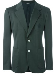 Dolce And Gabbana Embroidered Crown Pocket Blazer Green
