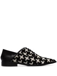 Haider Ackermann Black And White Embroidered Leather Brogues