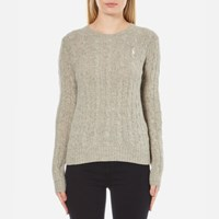 Polo Ralph Lauren Women's Julianna Crew Neck Jumper Cashmere Blend Light Vintage Heather Grey