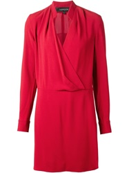 Thakoon Wrap Style Long Sleeve Dress Red