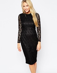 Sugarhill Boutique Alexa Lace Dress With Collar Black