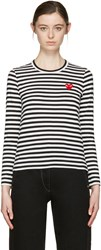 Comme Des Garcons Play Black And White Striped Heart Patch T Shirt