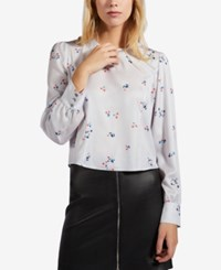 Avec Les Filles Printed Cropped Top Dusty Rose