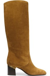 Lanvin Suede Knee Boots Camel
