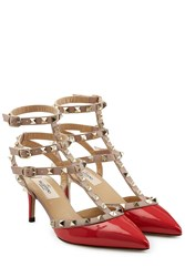 Valentino Rockstud Patent Leather Kitten Heel Pumps Red